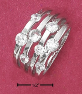 Sterling Silver 4 Broil Scattered Clear Round Cz Tapered Ring