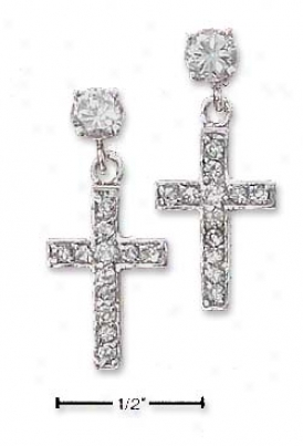 Sterling Silver 4mm Round Cz Post Earrings Cz Cross Dangles