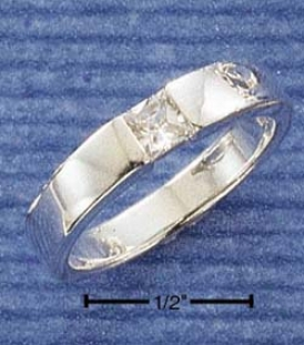 Sterling Silver 4mm Square Cz Inset Squared 4mm Band Ring