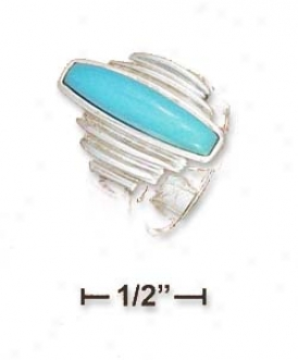 Sterling Siover 4x19mm Turquoise Bar With Step Sides Ring
