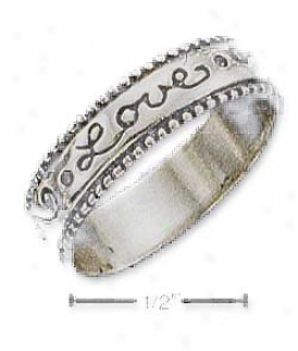 Sterling Silver 5mm Love Band Ring With Coin Edge