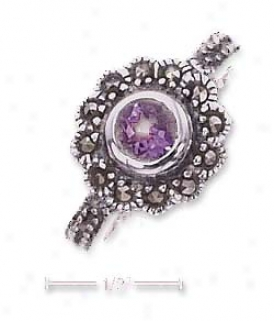Sterling Soft and clear  5mm Round Amethyst Marcasite Limit Ring