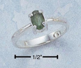 Sterling Silver 6x4 Oval Emerald Ring