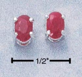 Sterling Silver 6x4 Oval Ruby Post Earrings