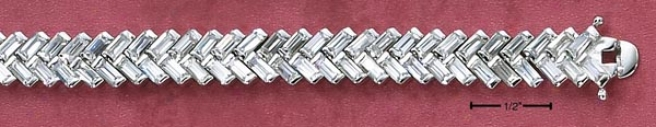 Genuine Silver 7 In Baguette Cz Herringbone Draw Bracelet