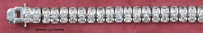 Sterling Silver 7 In. Continuous 3 Cz Dome Flexible Bracelet