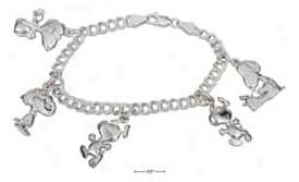 Sterling Silver 7 Inch Peanuts Snoopy Spell Bracelet