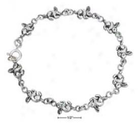 Sterling Silver 7 Inch Tiny Bunny Bracelet