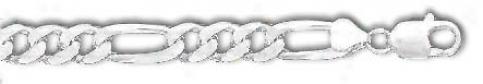 Sterling Silver 7 Inch X 9.6 Mm Figaro Chain Bracelet