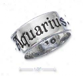Sterling Silver 7mm Antiqued Aquarius Zodiac Band Ring