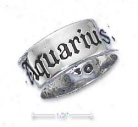 Sterling Silver 7mm Antiqued Aquarius Zodiac Band Ring