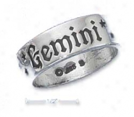 Sterling Silver 7mm Antiqued Gemini Zodiac Cord Ring