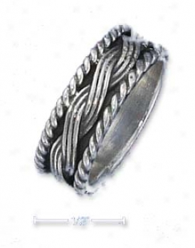 Sterling Silver 7mm Antiaued Ring Cenyer Braid Roped Edges