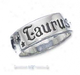 Sterling Silver 7mm Antiqued Taurus Zodiac Band Ring
