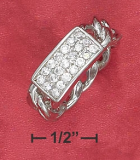 Sterling Silver 7mm Connected series Member Ring With 3 Row Cz Plate