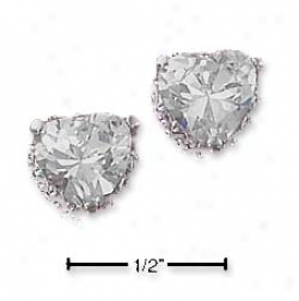 Sterling Silver 7mm Cz Heart Post Earrings With Fancy