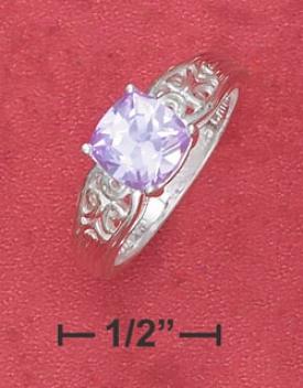 Sterling Silver 7mm Lavender Cz Filigree Design Shank Ring
