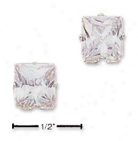 Genuine Silver 7mm Square Cubic Zirconia Pist Earrings