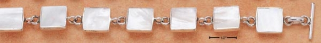 Sterling Silver 8 Inch Suit Mop Link Toggle Bracelet