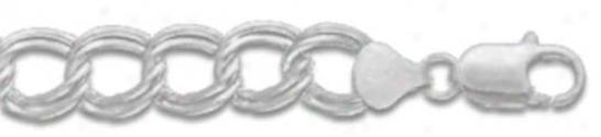 Sterling Silver 8 Inch X 11.0 Mm Charm Link Bracelet