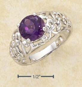 Sterling Silver 8mm Amethyst Stone Open Scroll Dome Ring