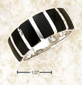 Sterling Silver 8mm Band Ring With Black Onyx