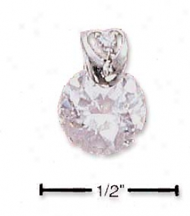 Sterling Silver 8mm Cubic Zirconia Fancy Heart Bail Pendnt