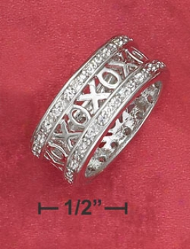 Genuine Silver 8mm Open Xo Ring With Cz Border.
