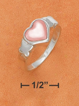 Sterling Silver 8mm Pink Mother Of Pearl Heart Kisses Ring