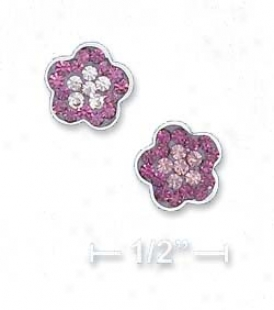 Sterling Silver 8mm Purple And Lavender Flower Pos5 Earrings