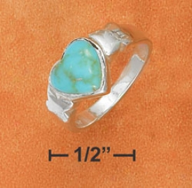 Sterlkng Silver 8mm Turquoise Heart And Kisses Ring