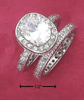 Sterling Silver 8x10 Clear Oval Cz Cz Shank And Cz Ring Set
