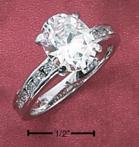 Sterling Silver 8x10 Oval Cz Ring With Channel Set Cz Ring
