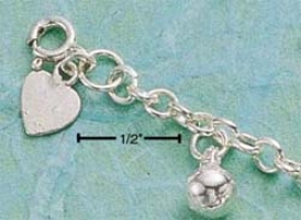 Sterling Silver 9 Inch Harmkny Ball Anklet