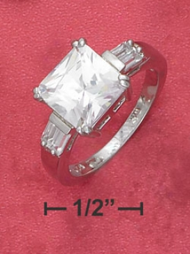 Sterling Gentle 9mm Cz Ring With Double Side Baguettes