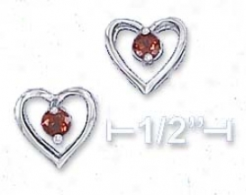 Sterling Silver 9mm Open Heart 3mm Garnet Post Earrings
