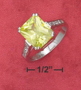 Sterling Silver 9x11mm Apple Green Cz With Pave Setting Resonance