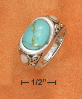Sterling Silver 9x11mm Turquoise Filigree Ring