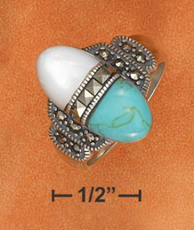 Sterling Silver 9x20 Elongatwd Turquoise Mop Marcasite Ring