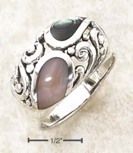 Sterling Silver Abalone Pink Shell Inlay Scrolled Dome Ring