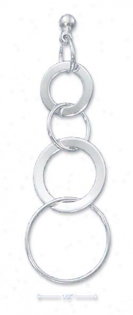 Sterling Silver Alternating Wide Interlocked Rings Earrungs