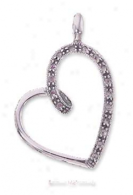 Sterling Silver Amethyst Ribbon Loop Open Heart Ear-ring