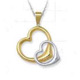 Genuine Silver And 14k Entwined Heart Pendant - 18 Inch