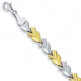Sterling Silver And 14k Lesves Bracelet - 7.25 Inch