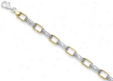Sterling Silver And 14k Square Links Bracelet - 7.25 Inch
