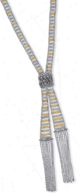 Sterling Silver And 14k Yellow Beaded Necklace - 18 Inch