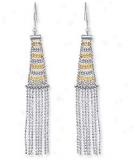 Sterling Silver And 14k Yellow Designer Beaded Earrings