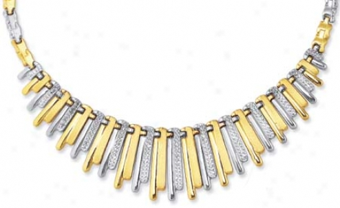 Sterling Silver And 14k Yellow Designer Necklace - 17 Inch