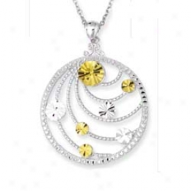 Sterling Silver And 1k Yellow Designer Pendant - 18 Inch