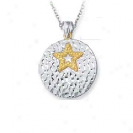 Sterling Silver And 14k Yellow Designer Star Pendant - 18 In